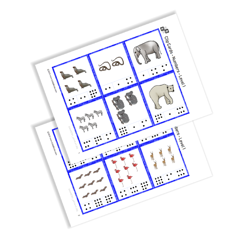 Clip Cards - Numbers - Zoo Animals